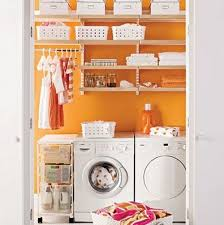 Laundry Room: Small Laundry Room Layout With Orange Color - Office Room