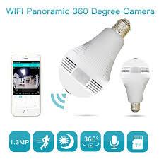 Bulb Lamp Wireless Ip Camera Wifi 960p Panoramic Fisheye Home