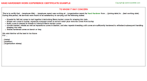 Hand Hardener Work Experience Certificate Experience Letters