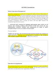 Manufacturing Process Design Input Introduction To Operations Management Soe09103 Napier