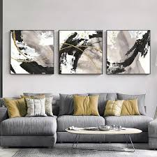 3 pieces gold art abstract paintings on