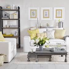 White living room with gold and grey