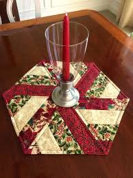 round table topper red green quilted hexagon table runner candle mat table topper reversible round table round table topper