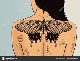 женщина с татуировкой на баннер вектор бабочка тату на спине