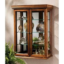 details about wall mounted curio cabinet display case glass doors hanging shelf free standing