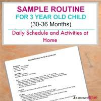 Daily Routine Chart For 2 Year Old Sample Routine For A 3 Year Old Child