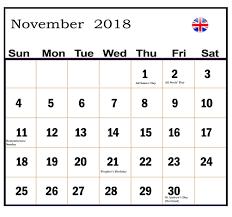 holidays november 2018 calendar uk