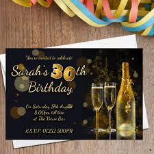 10 personalised black gold glitter birthday party invitations n207 any age 18th 21st 30th