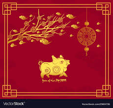 Chinese New Year Card Happy Chinese New Year 2019 Card With Pig Blossom Vector Image
