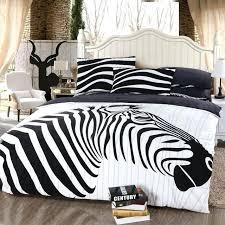 zebra animal print black white bedding comforter set queen size bedspread duvet cover bed in a