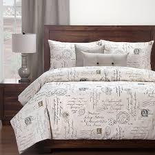 com siscovers postscript linen luxury duvet cover set white 5 piece twin home kitchen