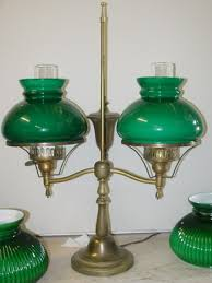 vintage double student lamp shown with matching vianne glass 7 shades and chimneys