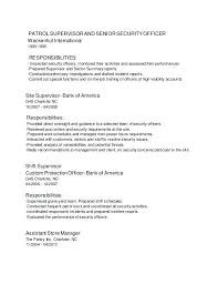 Security Officers Responsibilities Security Officer Resume Objective