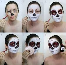 step by step face painting mexican skull step by step face painting mexican skull sugar skull makeup easy