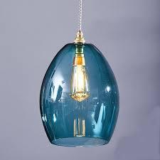teal blue glass pendant light