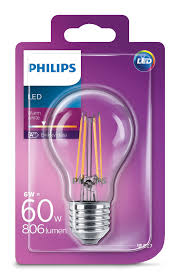 Philips Led Classic Bulb 6w60w E27 Cap Warm White