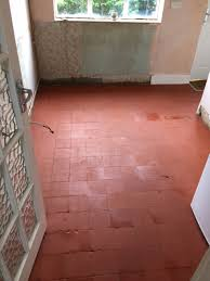 quarry tiled floor after cleaning woking