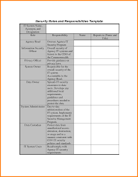 job responsibility template ledger paper security roles and responsibilities template it system acronym
