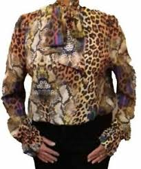 Details About John Zack Multi Coloured Animal Leopard And Snake Print V Neck Pussy Bow Blouse