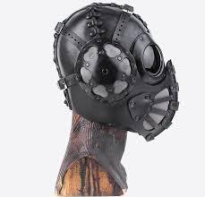thumb bob basset black pilot 4 art leather steampunk gas mask 3