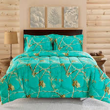 Captivating Realtree Teal Blue Camo Comforter Set