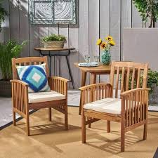 acacia patio dining chairs wood with outdoor cushions set of 2 mainstays chair cushion