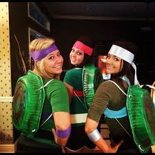 you and your crew can become the ninja turtles by spray painting lasagna pans and threading them with shoe laces here for more ideas