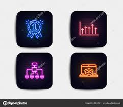 Neon Set Growth Chart Reward Restructuring Icons Online