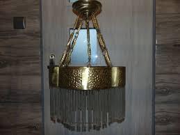 art nouveau brass crystal chandelier 1