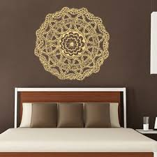 mandala wall decal ethnic sunshine stickers vinyl decals flower art mural home decor i on wall art murals vinyl decals stickers with mandala wall decal ethnic sunshine from amazingdecalsart on etsy
