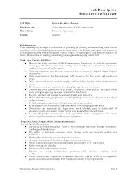 Housekeeping Manager Job Description Template Resume Templates ...