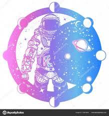 Astronaut V Prostoru Tetování Kosmonaut Ve Vesmíru Zatmění Slunce