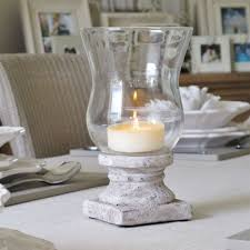 interior design cool glass jar hurricane candle holder with white distressed wood base glass