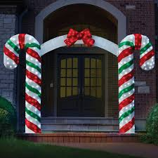 Outdoor Christmas Candy Cane Decorations Illuminated Candy Cane Archway Hammacher Schlemmer Outdoor 1