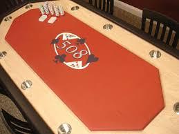 custom poker tables. Oak Poker Table Has Felt Center And Cup Holders Custom Tables