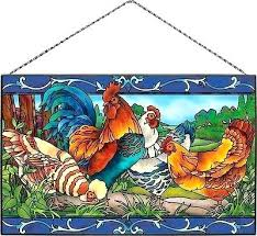 stained glass rooster country roosters and hens stained glass sun catcher art panel baker designs stained