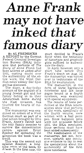 com anne frank new york post oct 9 1980 anne frank diary not genuine