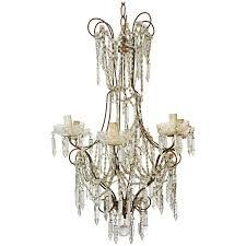 vintage six branch crystal chandelier for