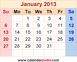 Monthly Calendar 2013 January 2013 Calendars For Word Excel Pdf