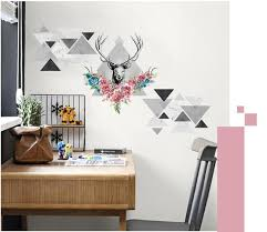 miico 3d creative pvc wall stickers home decor mural art removable deer wall decals