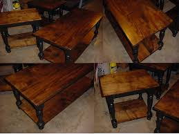 custom maple top coffee table with matching end side tables