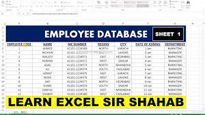 Employee Database Excel Template Basic Sheet Excel 15 Employee Database Sheet Youtube