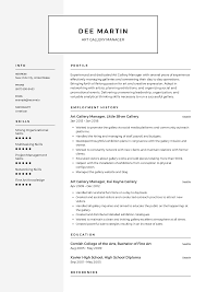 Arts Resumes Art Gallery Manager Resume Templates 2019 Free Download