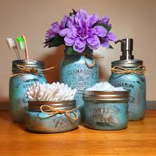 Mason Jar Bathroom Accessories Seafoam Silver Mason Jar Bathroom Set Rustic Hustle