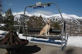 image of vintage ski lift chairs