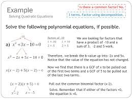 example solve the following polynomial equations if possible