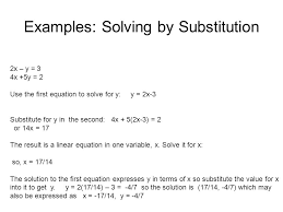 examples solving by substitution 2x y 3 4x 5y 2 use