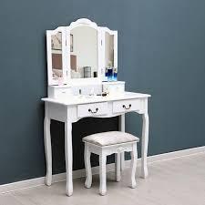 black white tri folding mirror vanity set 4 drawers dressing table makeup desk stool us