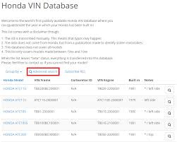 Honda Vin Identification Chart Honda Vin Database Help