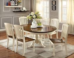 table painting 7 pc harrisburg collection country style oval round two tone vintage white and dark oak finish wood dining table set with pedestal base